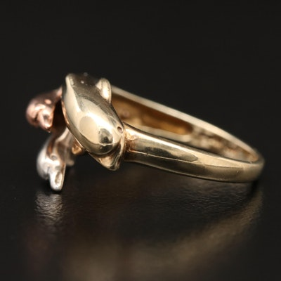 10K Tri-Color Dolphin Ring