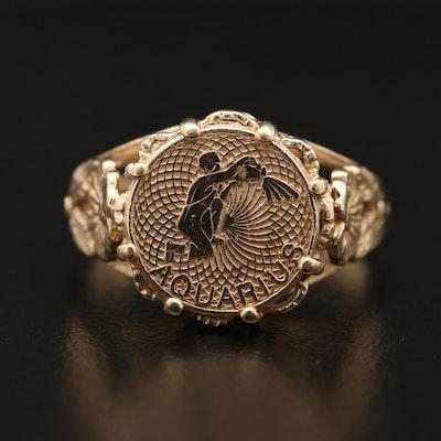 14K Aquarius Medallion in Floral Ring