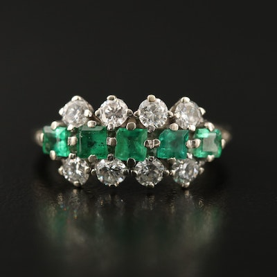 14K Emerald and Diamond Multi-Row Ring