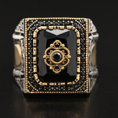 Sterling Silver Spinel and Glass Square Ring