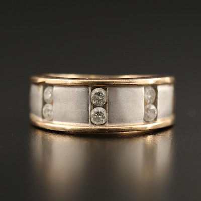 14K Diamond Tapered Band with Brushed Finish Accents