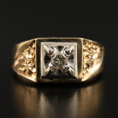 14K Diamond Tapered Scrollwork Ring