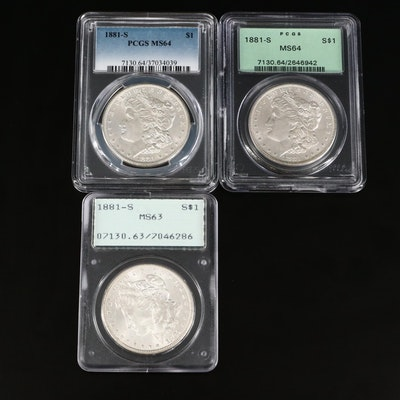 Three PCGS Graded 1881-S Morgan Silver Dollars