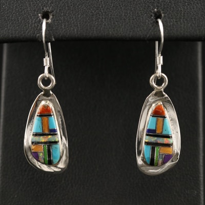 Western Style Sterling Silver Drop Earrings with Multi-Stone Inlay
