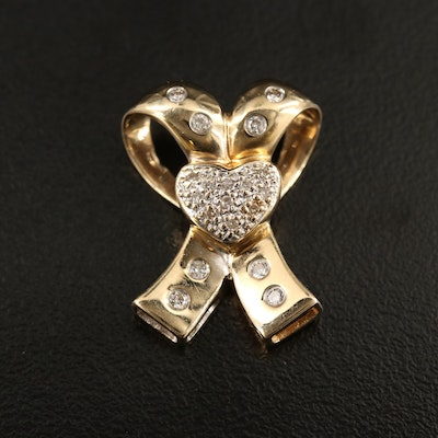14K Diamond Ribbon and Heart Slide Pendant