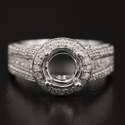 14K 1.13 CTW Diamond Halo Semi-Mount Ring