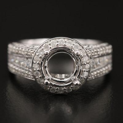 14K 1.13 CTW Diamond Halo Semi-Mount Ring