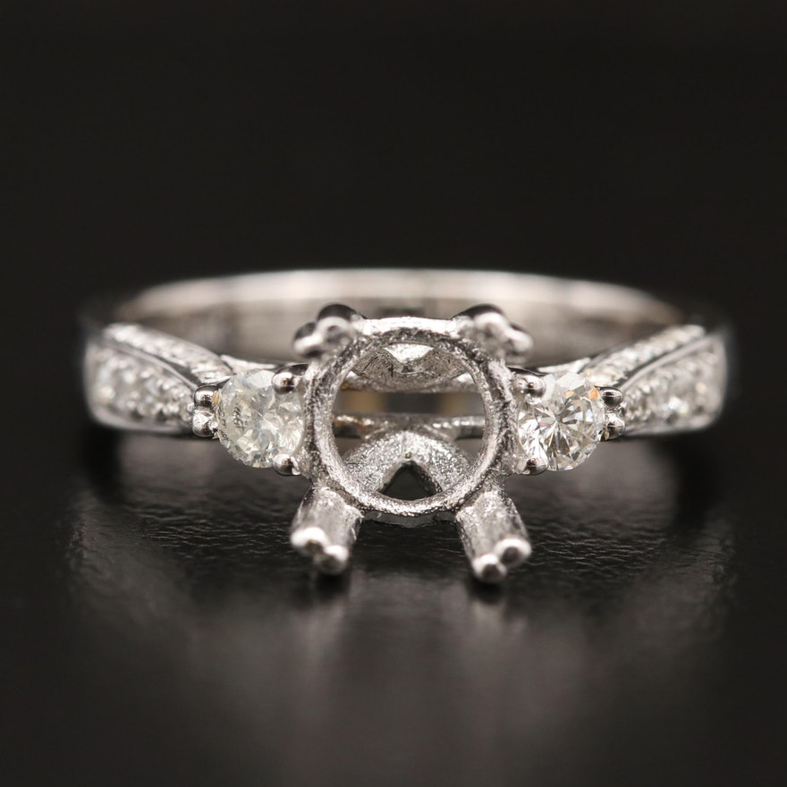 14K Diamond Semi-Mount Ring with Diamond Shoulders