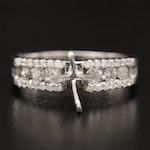 14K Diamond Semi-Mount Ring with Diamond Channel Shoulders