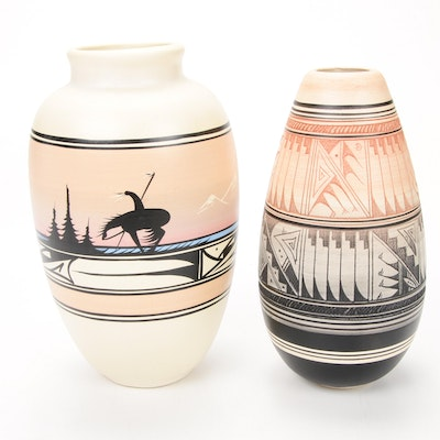 Huskemene Navajo and Other Signed Pottery Vases
