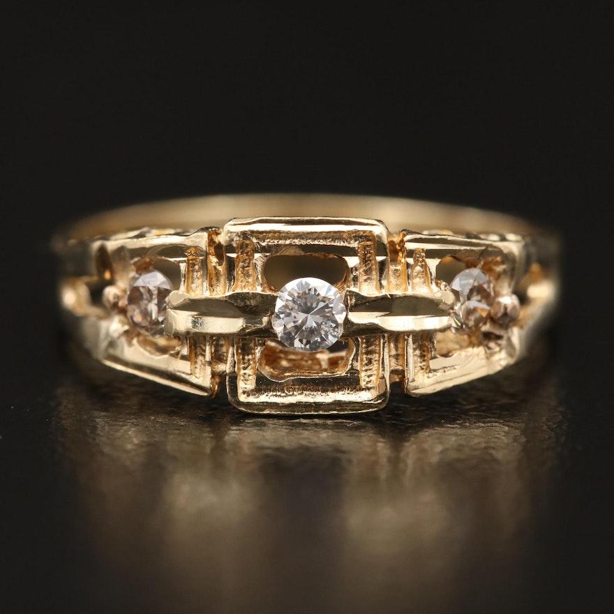 14K Openwork Diamond Ring