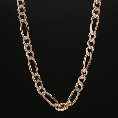 10K Diamond Cut Figaro Chain Necklace