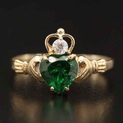14K Cubic Zirconia Claddagh Ring