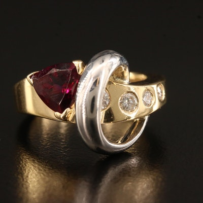 Contemporary 18K Garnet and Diamond Ring with 14K Accent