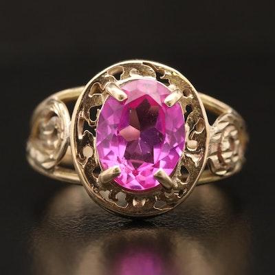 14K Pink Sapphire Swirl Ring