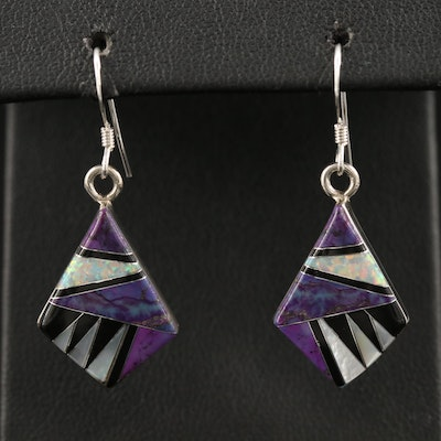 Sterling Silver Multi-Gemstone Inlay Earrings