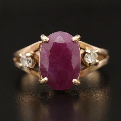 14K Ruby and Diamond Split Shoulder Ring