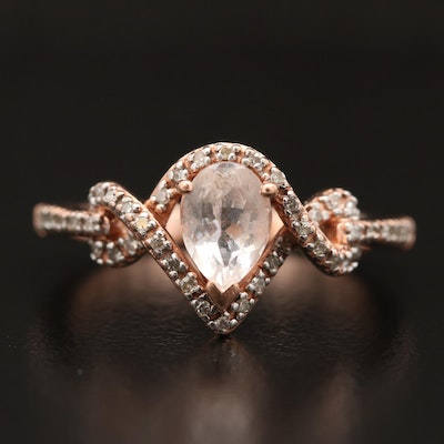 10K Morganite and Diamond Twisted Teardrop Ring