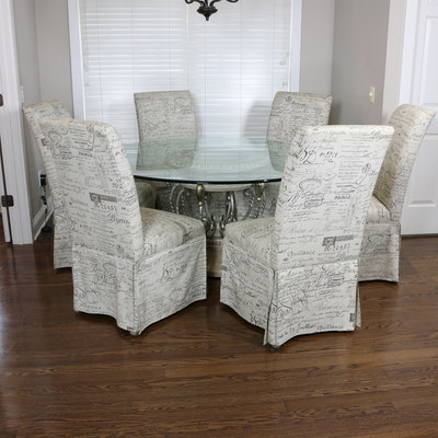 Wrought Metal Glass-Top Dining Table and Hooker Slipcover Parsons Chairs