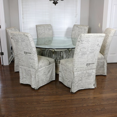 Wrought Metal Glass-Top Dining Table & Hooker Custom Upholstered Parsons Chairs