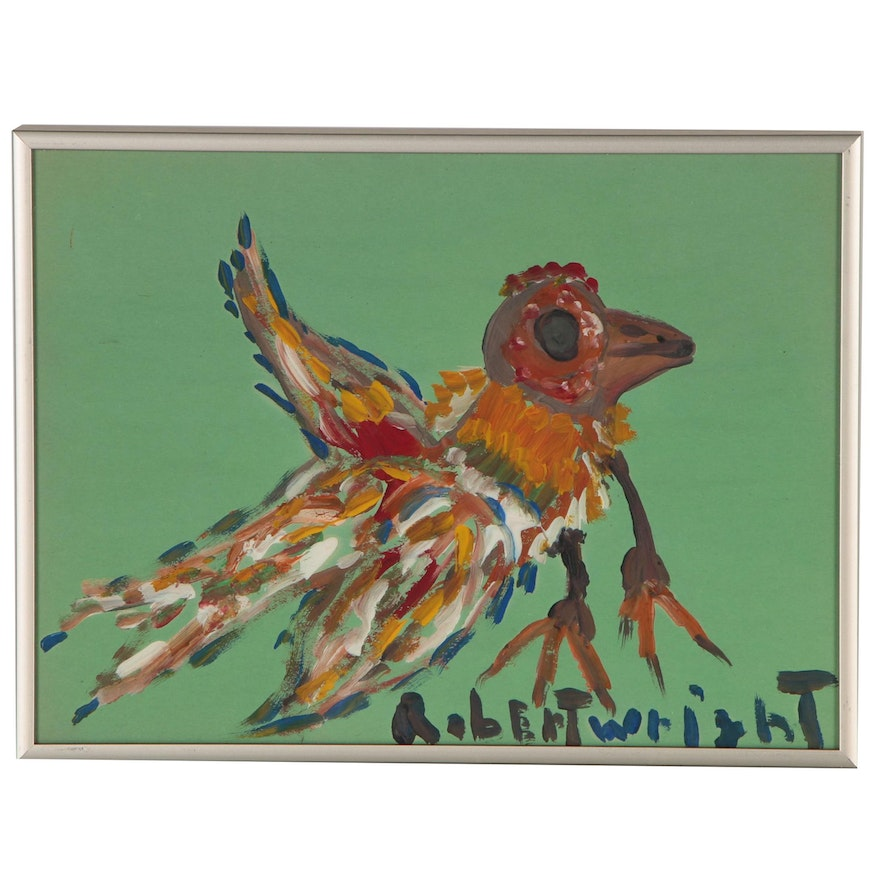 Robert Wright Outsider Art Acrylic Bird Painting