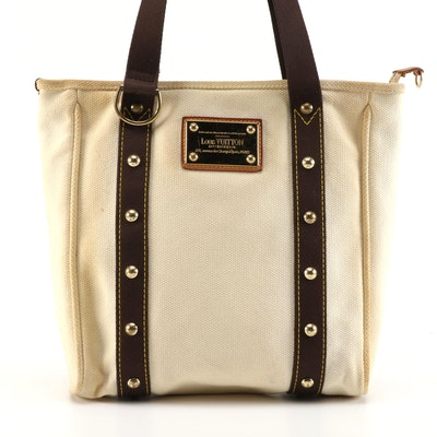 Louis Vuitton Cabas Beige and Brown Studded Canvas Tote Bag
