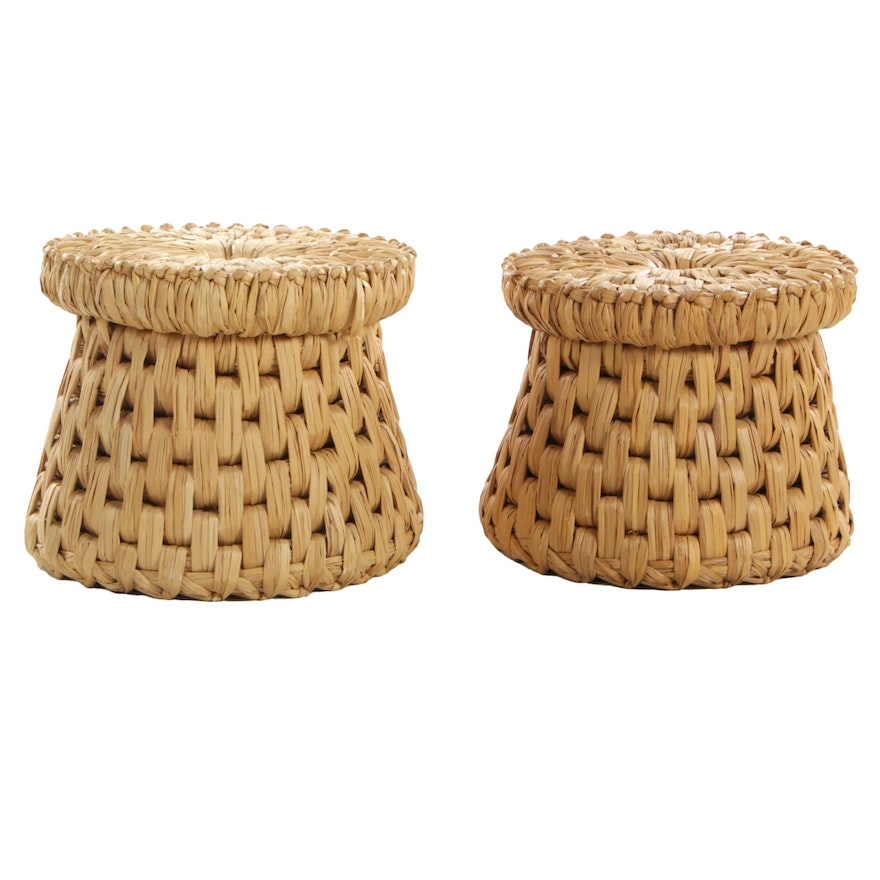 Pair of Woven Reed Garden Stools