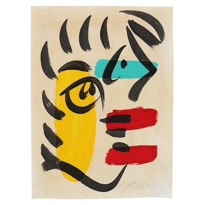 Peter Keil Acrylic Painting of Abstract Profile Portrait