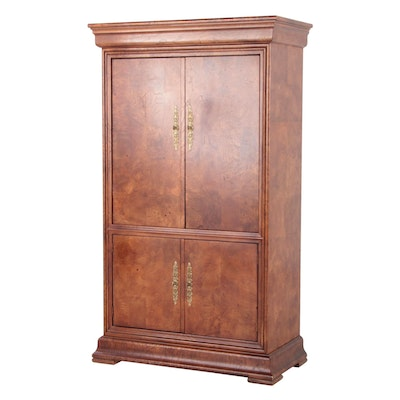 Henredon Charles X Collection Burl Elm Armoire Media Cabinet, Late 20th Century