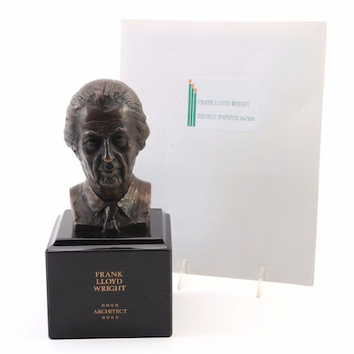 "Cast Bronze Portrait Bust after John Karl Daniels ""Frank Lloyd Wright"""