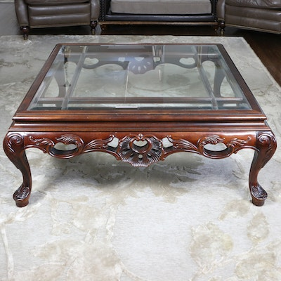 Century Furniture Chippendale Style Wood Coffee Table with Glass Top