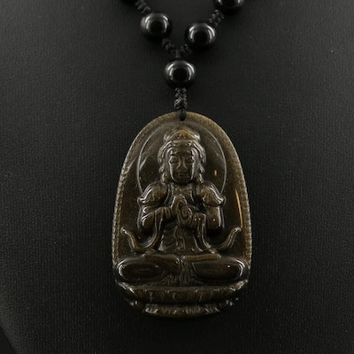 Sheen Obsidian Necklace Featuring Buddha with Hands Lifted in Dharmachakra Murda