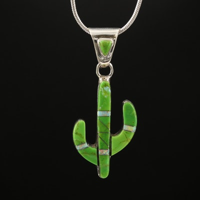 Sterling Cactus Pendant Necklace with Gemstone Inlay