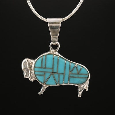 Southwestern Style Sterling Silver Buffalo Pendant Necklace with Turquoise Inlay