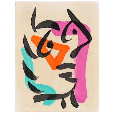 Peter Keil Acrylic Painting of Abstract Profile