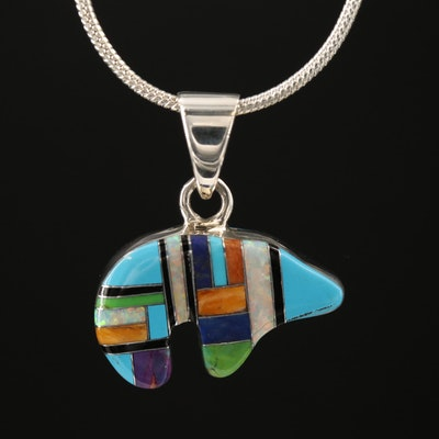 Sterling Opal Inlay Spirit Bear Pendant Necklace