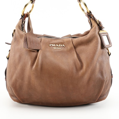 Prada Brown Ombré Deerskin Leather Hobo Bag