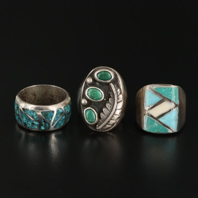 Southwestern Sterling Silver Rings Including Turquoise and Coral