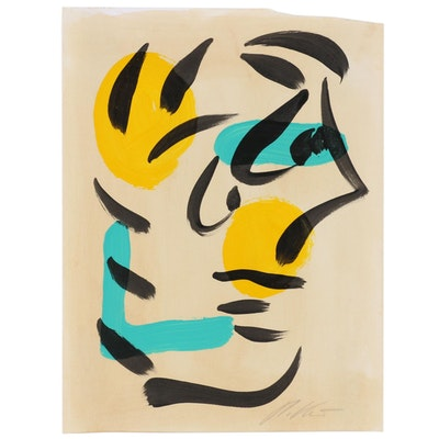 Peter Keil Abstract Acrylic Painting of Profile Portrait