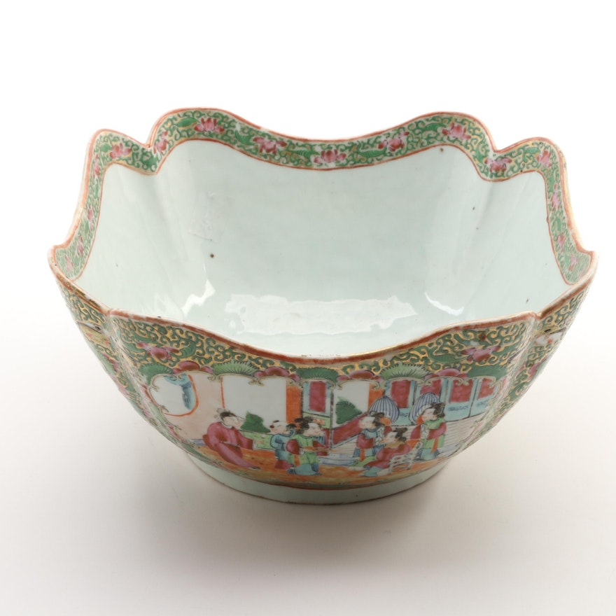 Chinese Export Rose Medallion Scalloped Bowl, Mid 19th Century