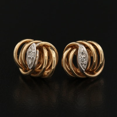 14K Diamond Knot Stud Earrings
