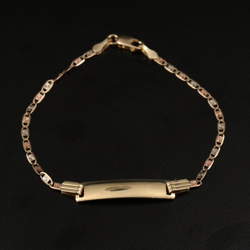 14K Tri-Gold ID Bracelet with Rose Gold Accents
