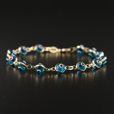 "14K ""Evil Eye"" Blue Glass Bracelet"
