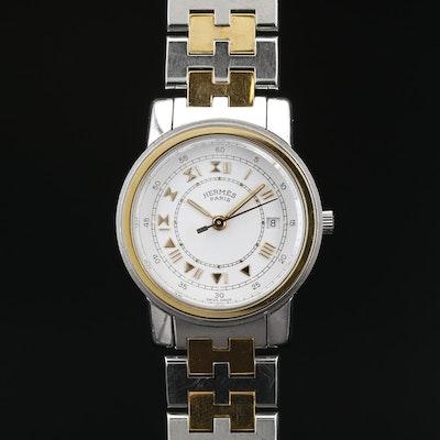 Hermès Clipper Two Tone Stainless Steel Quartz Wristwatch