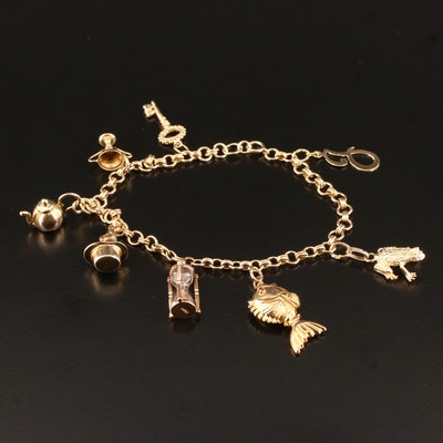 14K Charm Bracelet Featuring 10K Goblet Charm