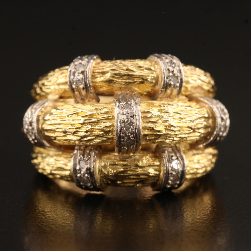 18K Textured Ring with Diamond Accents