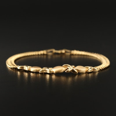 "14K ""XO"" Patterned Bracelet with Double Curb Link Bracelet"