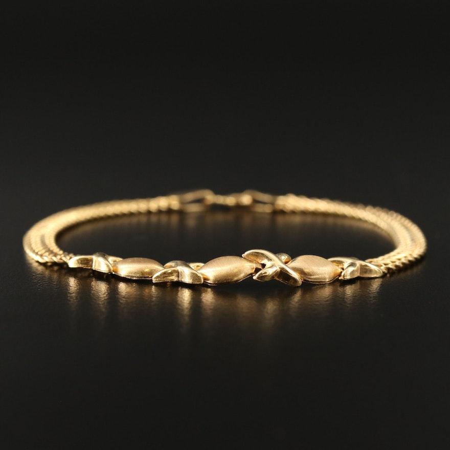 """14K """"XO"""" Patterned Bracelet with Double Curb Link Bracelet"""
