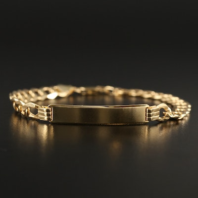 14K ID Bracelet with Curb Link Chain