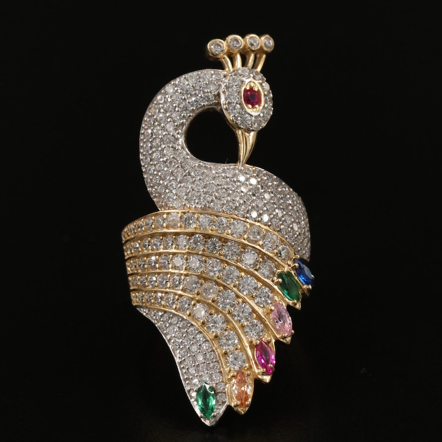 14K Ruby and Cubic Zirconia Peacock Bypass Ring